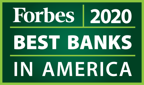 Forbes 2020 Best Banks in America 5 years in a row